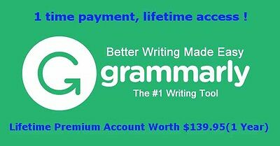 Grammarly Premium Account (English Grammar, Spellings and Plagiarism Checker)