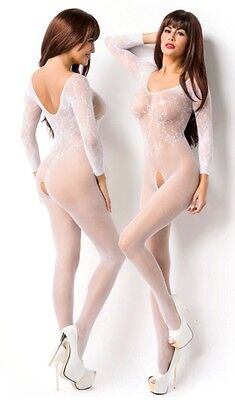 Sexy weißer Netzbody Catsuit ouvert transparent Bodystocking Netz Body Stocking