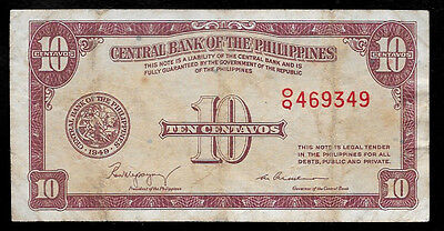 World Paper Money - Philippines 10 Centavos 1949 @ VF