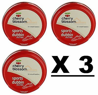 3 x Cherry Blossom Neutral Sports Dubbin 50ml Boots Smooth Leather Water Repel