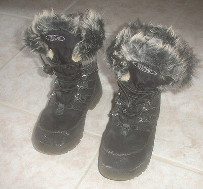 Kid's Cougar Cranbrook Suede Leather Winter Boots Black,size 13M