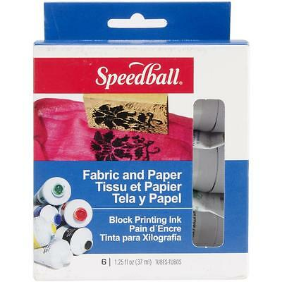 Speedball Block Printing Ink x6 Fabric & Paper 3479 Green Red Blue Yellow B & W