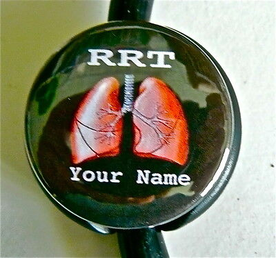 ID STETHOSCOPE NAME TAG, RRT/lung DESIGN OR CAN-B, RT,CRT, MEDICAL  YR NAME IMPT