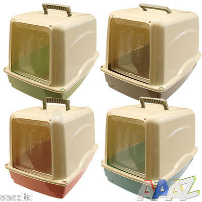 Cat Toilet Loo Hooded Cat Litter Tray With Door Plastic Tray With Door Pastle