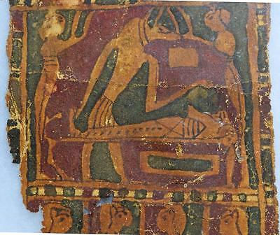 Egyptian cartonnage with Anubis in the embalming process: 2nd-1st century BC.