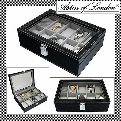 Aston Of London® Mens Black Pu Leather 10 Watch Storage & Display Case Watchbox