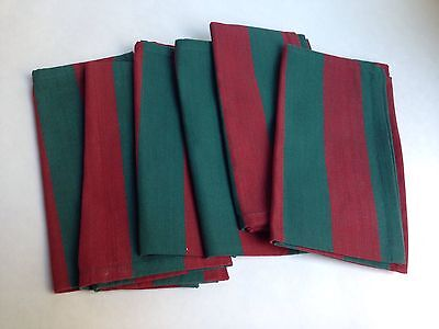 Christmas Holiday Cloth Napkins, Set of 6, Red Green Striped