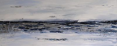 LARGE ORIGINAL MODERN ABSTRACT ACRYLIC LANDSCAPE SILVER KNIFE PAINTING 100x40cm