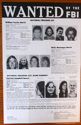 1975 FBI Most WANTED Poster With Patty Hearst - Charles Manson Helter Skelter