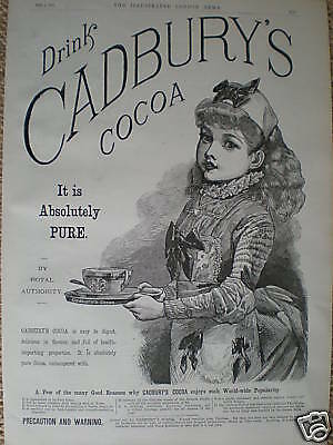 Cadbury's Cocoa absolutely pure - 1889 advert