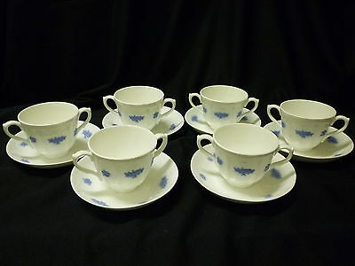 Adderley CHELSEA Blue Grape bullion Cups & Saucers-Set of 6