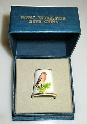 Royal Worcester Sewing Thimble in Original Box Hand Painted Signed by Artist