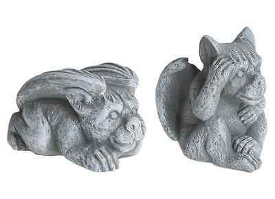 set of 2 Garden Ornament Gargoyle Sculpture Stone Statue Home Patio Decorative
