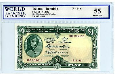 Ireland Republic ... P-64a ... 1 Pound ... 3-4-1963 ... *AU-UNC*