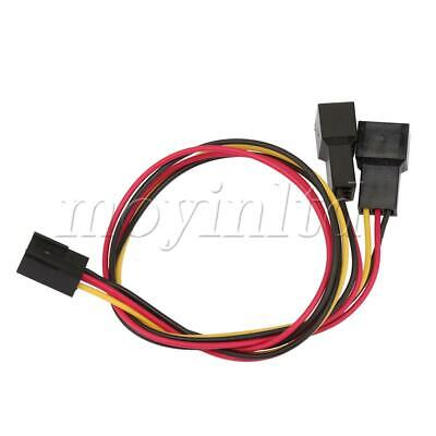 2 x 12V 3 Pin Female to 2 Male PC Fan Power Y Splitter Extension Cable Wire