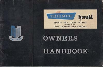 Triumph Herald Saloon & Coupe ( Twin Carb Models ) Original 1959 Owners Handbook