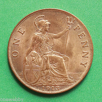 1913 George V Uncirculated Penny Full lustre SNo40593