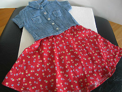 Authentic American Girl 1997 Play Outfit Red Skirt Denim Shirt