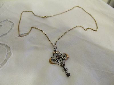 Elegant Edwardian/suffragette Style Rose Gold Pendant & Chain Early 1900's