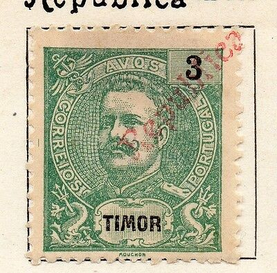 Timor 1913 Early Issue Fine Mint Hinged 3r. Optd125682