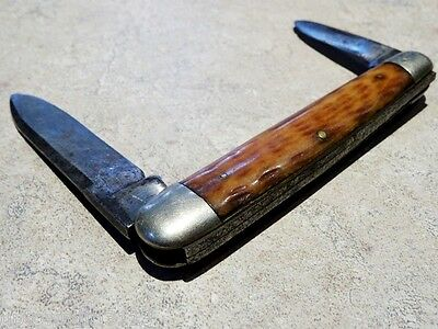 c1909 Tidioute Pen Knife VERY RARE antique 2 BLADE STAG Pennsylvania MARKED
