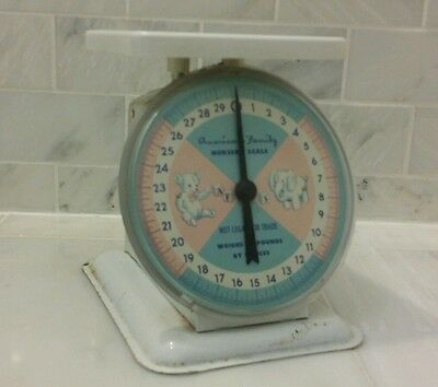 Vintage American Family Nursery Scale Pink And Blue Baby Scale Free Shipping