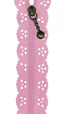 Pink Lace Zip Zipper Sewing Craft 20cm / 8 Inches *New*