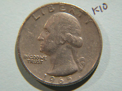 1965 American Quarter 25c Twenty-Five Cent coin, Washington 25 cents USA