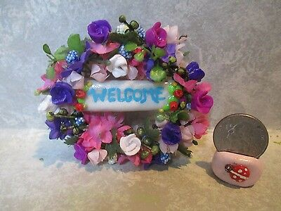 """Miniature Large Doll/dollhouse 2 1/2"""" WELCOME FLORAL WREATH"""
