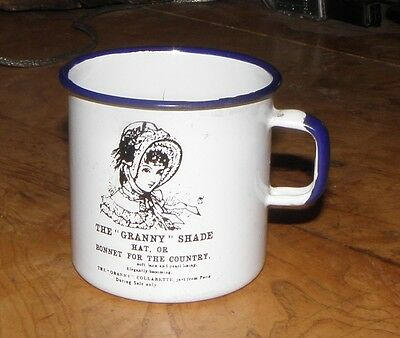 """Advertising Granite Ware Enamel Granny Shade HAT CUP  """"BONNET FOR THE COUNTRY"""""""