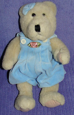 "Boyds Bear Blue Overalls W/rose 1985-1995 Vhtf 12"" Tall ~ By"