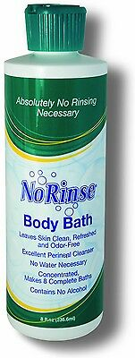 8oz NORINSE BODY BATH  PLUS 6 SHAMPOO CAPS DisabledCampingTravelKidsMilitary