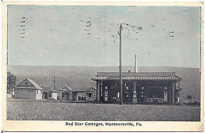 Red Star Cottages in Montoursville PA Postcard 1931 Gas Pumps