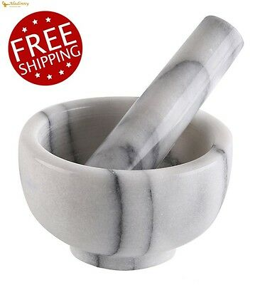 "Mortar and Pestle Marble Herbs Spices Grain Grinder Pill Pharmacist 4.5"" Durable"