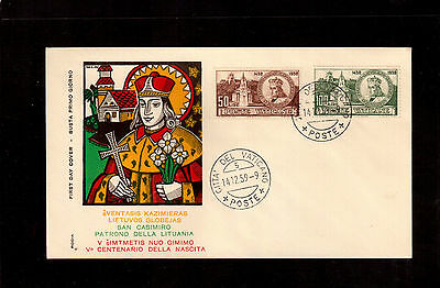 Vatican 1959 First Day Cover, St. Casimir Patron Saint Of Lithuania #264/65 !!