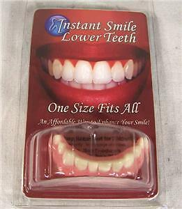 PERFECT SMILE BOTTOM TEETH w 2 PKG BEADS dentures instant smile pearly whites