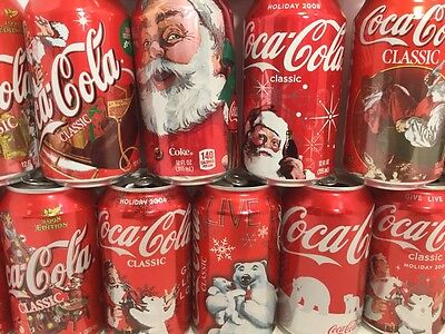 Christmas Coca Cola Can Lot Of 17 Coke Cans Some Vintage Coca Cola Cans
