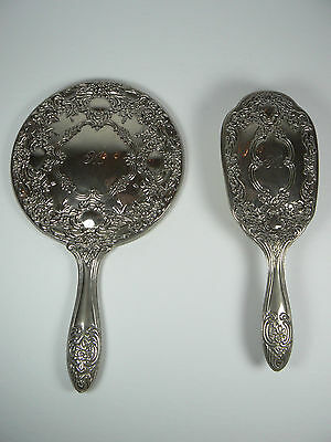 Vintage Silver Plated Hand Mirror Hair Brush Set by International Silver 1991