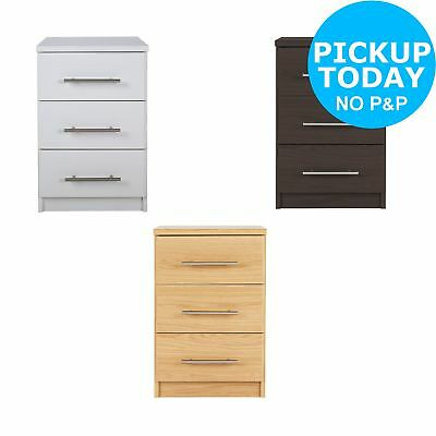 HOME Normandy 3 Drawer Bedside Chest - Choice of White/Oak/Wenge-From Argos ebay