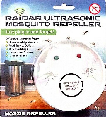 RAIDER ULTRASONIC MOSQUITO REPELLER JUST PLUG IN AND FORGET EFFECTIVE 30sqm
