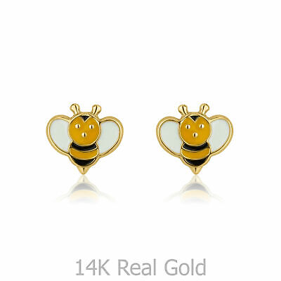 Tiny 14K Solid Gold Bees Small Earrings Baby Studs Girls Children Birthday Gift