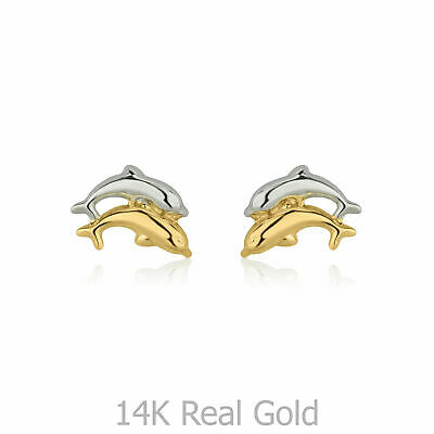 Tiny 14K Solid Gold Dolphin Small Earrings Baby Studs Girls Children Birthday