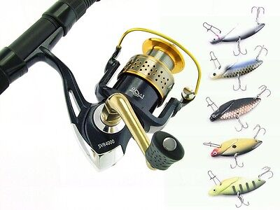 SARATOGA 7'0 6kg Snapper Fibreglass Spinning Fishing Rod Reel and 5x Lures Combo