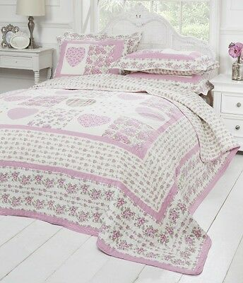 Emma Barclay Piana Quilted Patchwork 100% Cotton Bedspread Set Pink All Sizes