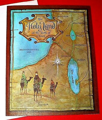 Vintage Christmas The Holy Land Greeting Card Unused With Envelope