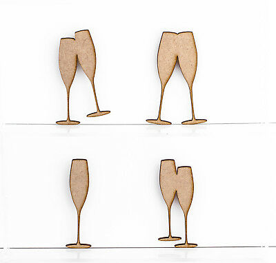 Wooden MDF Champagne Glasses Shapes Decoration Embellishments 3mm Thick