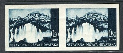 CROATIA;  1940s early IMPERF VARIETY fine MINT MNH  Pair 0.5k.