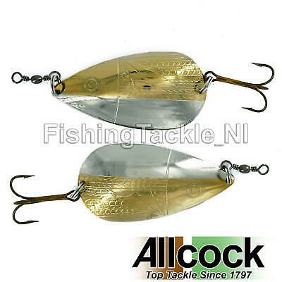 Allcock Norwich Two Tone Traditional Spoon Gold/Silver Red Inside Fishing Salmon