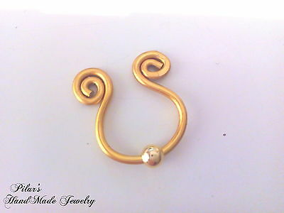 HOT Nipple Ring Clip on  Body Jewellery Non Piercing Gold Fake nipple Ring