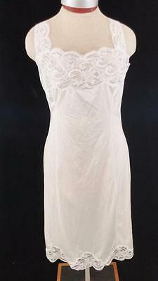 vintage Wondermaid full slip size 36 white lace floral non cling
